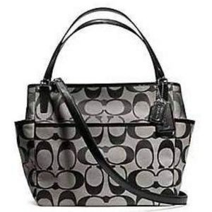 Coach Diaper Bag Baby Bag Black Gray Authentic Big